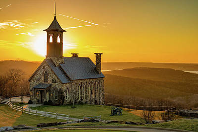 Santas Reindeers Royalty Free Images - Chapel of the Ozarks Golden Sunset at Top of the Rock Royalty-Free Image by Gregory Ballos