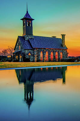 Royalty-Free and Rights-Managed Images - Chapel of the Ozarks Sunset Reflections - Ridgedale Missouri by Gregory Ballos