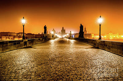 Celebrity Pop Art Potraits - Charles Bridge at Sunrise Prague by Miles Whittingham