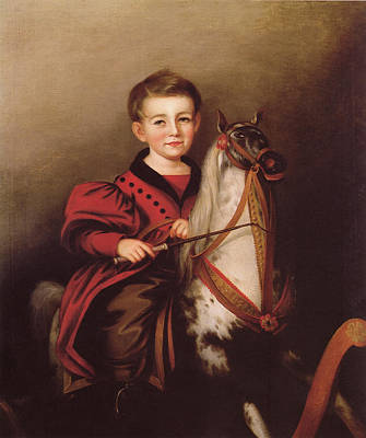 Animals Paintings - Charles Lavalle Jessop Boy on a Rocking Horse 1840 By Sarah Miriam Peale by Arpina Shop