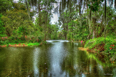 Royalty-Free and Rights-Managed Images - Charleston SC Magnolia Plantation Bridge Reflections 2 Horticulture Landscape Architecture Art by Reid Callaway