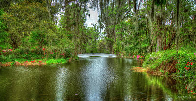 Royalty-Free and Rights-Managed Images - Charleston SC Magnolia Plantation Bridge Reflections Horticulture Landscape Art by Reid Callaway
