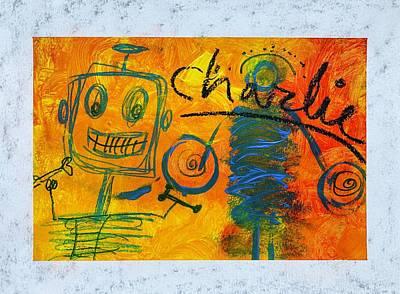 Sports Paintings - Charlies Robot by Sarah Fox Wangler