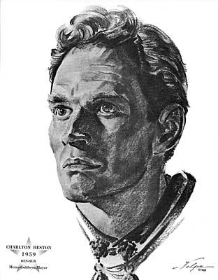 Drawings Royalty Free Images - Charlton Heston by Volpe Royalty-Free Image by Stars on Art