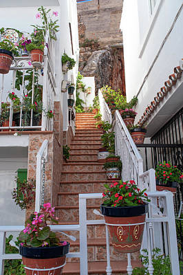 Katharine Hepburn - Charming Tiny White Streets of Mijas by Jenny Rainbow