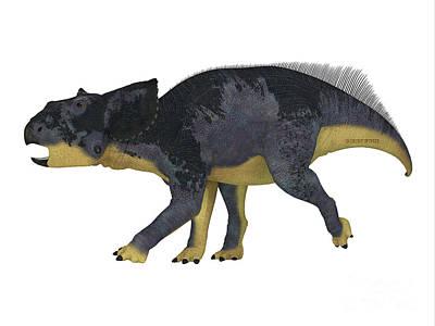 Bath Time - Chasmosaurus Juvenile Dinosaur by Corey Ford