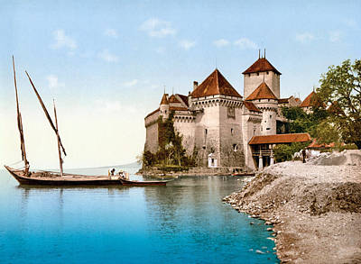 Royalty-Free and Rights-Managed Images - Chateau of Chillon, Veytaux, Riviera-Pays-dEnhaut, Vaud, Switzerland 1890. by Joe Vella