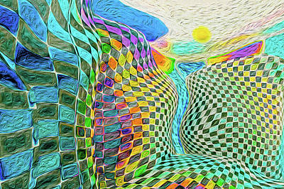 Surrealism Royalty-Free and Rights-Managed Images - Checkered Surreal Landscape Waterfall by Dan Collier