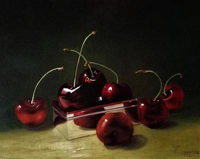 Painting - Cherries and silver box by Peter Thomas Foster