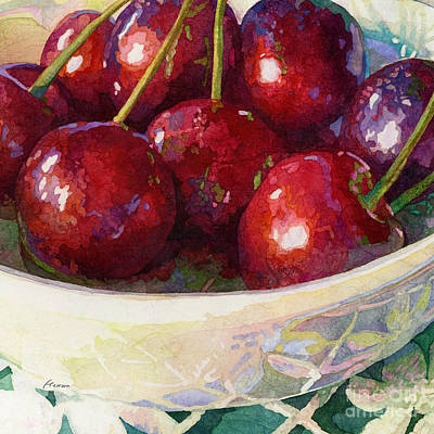 Tool Paintings - Cherries Jubilee-square format by Hailey E Herrera