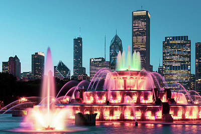 Royalty-Free and Rights-Managed Images - Chicago Buckingham Fountain At Night by Chicago In Photographs