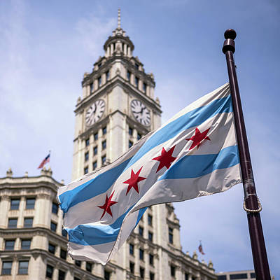 Thomas Kinkade - Chicago City Flag by Chicago In Photographs