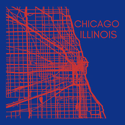 Sports Royalty-Free and Rights-Managed Images - Chicago City Street Map Vintage by Aaron Geraud