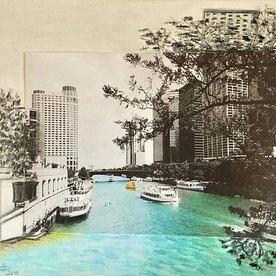 Mixed Media - Chicago-River-Day by Karin Palminteri