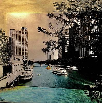 Mixed Media - Chicago-River-Night by Karin Palminteri