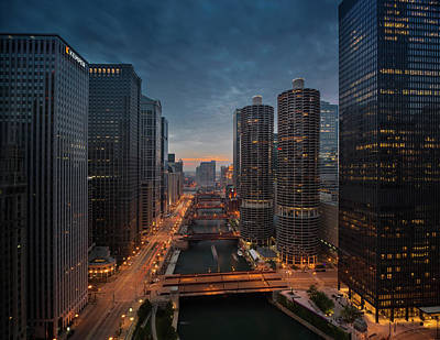 Lucille Ball Royalty Free Images - Chicago River Sunset Royalty-Free Image by Steve Gadomski