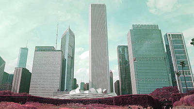 Surrealism Royalty Free Images - Chicago Skyline, Illinois, USA - 34 - Surreal Art by Ahmet Asar Royalty-Free Image by Celestial Images