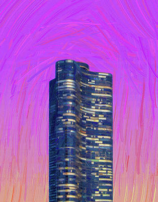 Royalty-Free and Rights-Managed Images - Chicago Skyline, Illinois, USA - 47 - Abstract Oil Painting by Ahmet Asar by Celestial Images