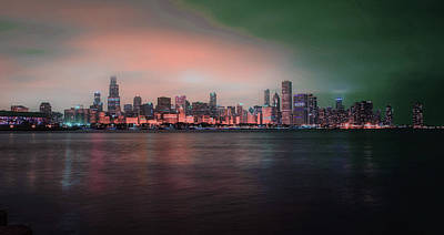 Surrealism Royalty Free Images - Chicago Skyline, Illinois, USA - 5 - Surreal Art by Ahmet Asar Royalty-Free Image by Celestial Images