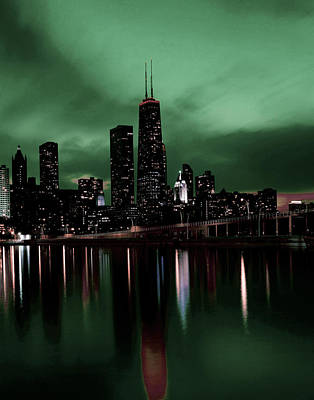 Surrealism Royalty Free Images - Chicago Skyline, Illinois, USA - 9 - Surreal Art by Ahmet Asar Royalty-Free Image by Celestial Images