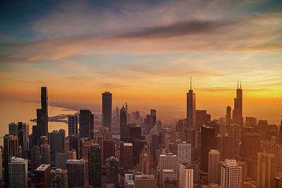 Royalty-Free and Rights-Managed Images - Chicago Sunset from Above by Andrew Soundarajan