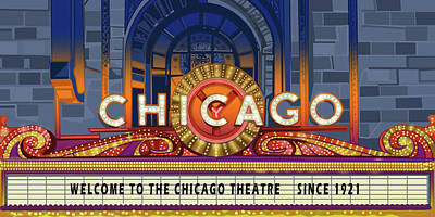 Royalty-Free and Rights-Managed Images - Chicago Theatre Light by Bekim M