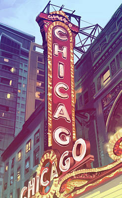 Royalty-Free and Rights-Managed Images - Chicago Theatre Sign by Bekim M