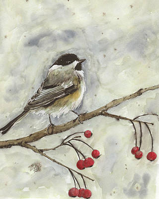 Rose - Chickadee in the Snow in Watercolor by Taphath Foose