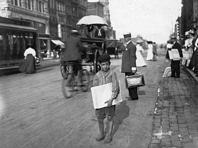 Kitchen Mark Rogan - Child labor in America 1908 1914 by Lewis Hine  A barefoot Indianapolis newsie in August of 1908 by Artistic Rifki