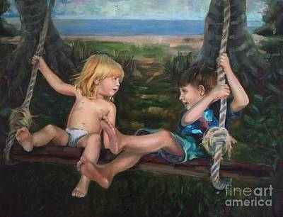 Painting - Children on the swing by Nina Silaeva