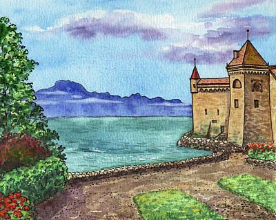 Royalty-Free and Rights-Managed Images - Chillon Castle Lake Geneva Switzerland Veytaux Watercolor  by Irina Sztukowski