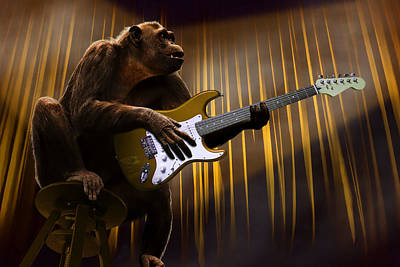 Surrealism Royalty-Free and Rights-Managed Images - Chimpanzee Monkey Performing With A Guitar Surreal by Barroa Artworks