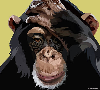 Mixed Media Royalty Free Images - Chimpanzee Royalty-Free Image by Stars on Art
