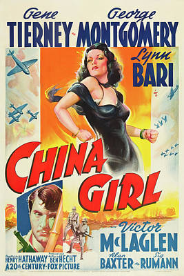 Typography Tees - China Girl, with Gene Tierney, 1942 by Stars on Art