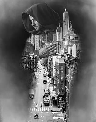 Surrealism Digital Art - Chinatown Manhattan New York and Hooded Man Double Exposure Photography Surreal by Barroa Artworks