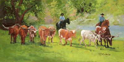 Animal Portraits - Chisholm Trail Oil Painting by Kathleen McElwaine by Kathleen McElwaine