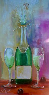 Go For Gold - Chocolate and Champagne Painting by Lisa Kaiser