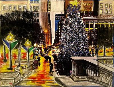 Mixed Media - Christmas-In-The-City by Karin Palminteri