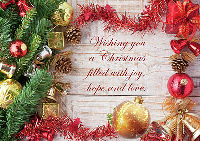 Royalty-Free and Rights-Managed Images - Christmas With Joy Hope And Love by Johanna Hurmerinta