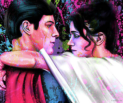 Modern Sophistication Line Drawings - Christopher Reeve and Margot Kidder in Superman by Stars on Art