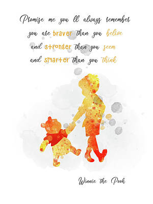 Moody Trees - Christopher Robin and Pooh bear quote watercolor by Mihaela Pater