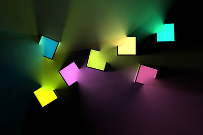 Digital Art Rights Managed Images - Chromatic Cubes 4 Royalty-Free Image by Scott Norris