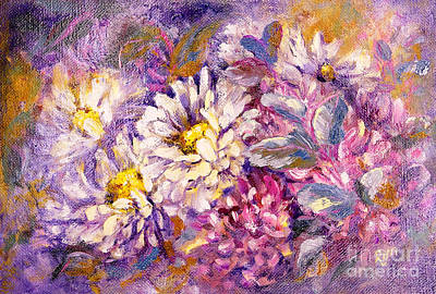 Painting - Chrysanthemums and Gum Leaves by Ryn Shell