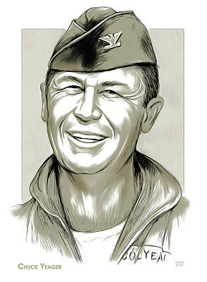 Drawings Royalty Free Images - Chuck Yeager Royalty-Free Image by Greg Joens