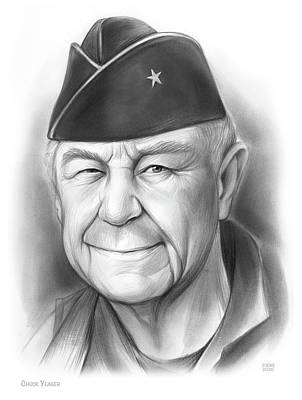 Drawings Royalty Free Images - Chuck Yeager - Pencil Royalty-Free Image by Greg Joens