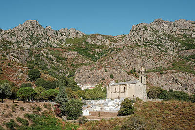 Photograph - Church and mountains at Canavaggia in Corsica by Jon Ingall