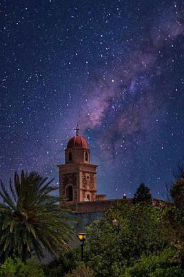 Photograph - Church dome under the milky way by Manolis Tsantakis
