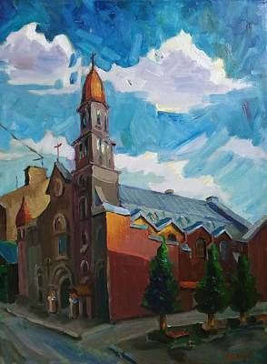 Painting - Church of our lady of Lourdes in St. Petersburg by Nina Silaeva