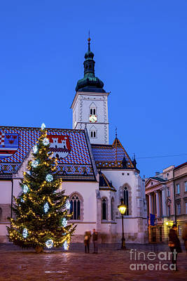 Queen Rights Managed Images - Church of St. Mark at evening, Zagreb, Croatia Royalty-Free Image by Sinisa CIGLENECKI