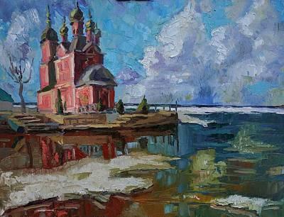 Painting - Church of the Forty Martyrs on Trubezha Pereslavl, Trubezh by Nina Silaeva